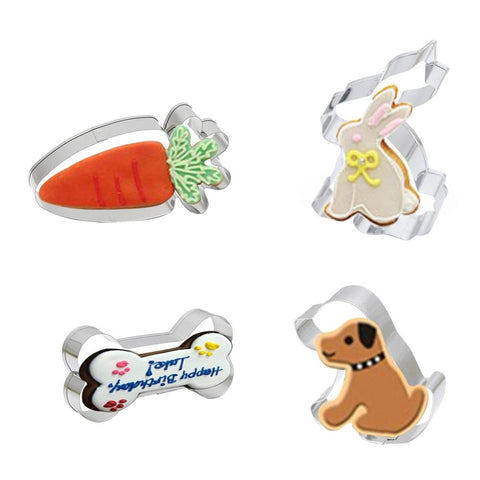 Stainless Steel Cookie Cutters: Bone, Dog, Rabbit, Carrot