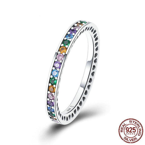 Sterling Silver Rainbow Cubic Zirconia  Pave Ring