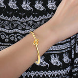 Fashionable Knot Bangle Bracelet in Gold  Plated 316L Stainless Steel