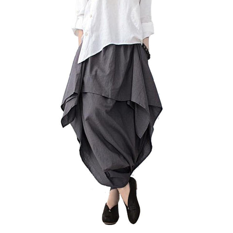 Wide Leg Loose Linen Cotton Asymmetric Pants with Elastic Waist