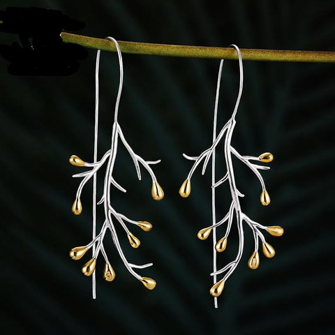 Handmade Flowering Vine Drop Earrings 925 Sterling Silver