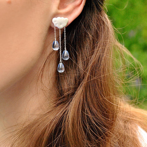Handmade Rainy Day 925 Sterling Silver and Crystal Earrings