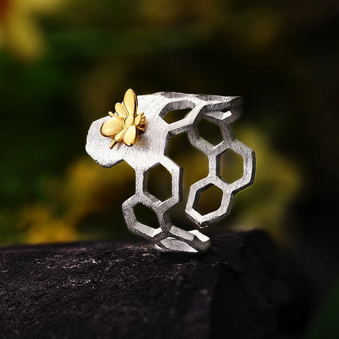 Bee on Honeycomb Adjustable Ring Handmade in 925 Sterling Silver