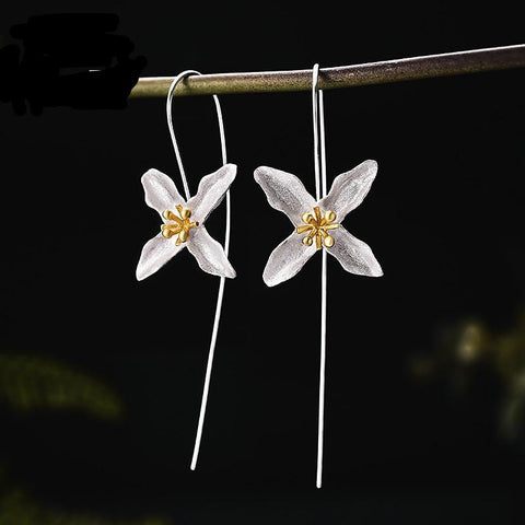 Handmade Star Flower Fashion Drop Earrings 925 Sterling Silver
