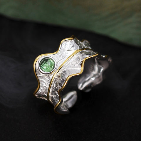 Natural Tourmaline  Adjustable Leaf Ring Handmade in 925 Sterling Silver