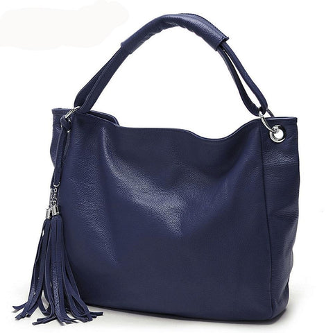 Soft Leather Tote with Decorative Tassel