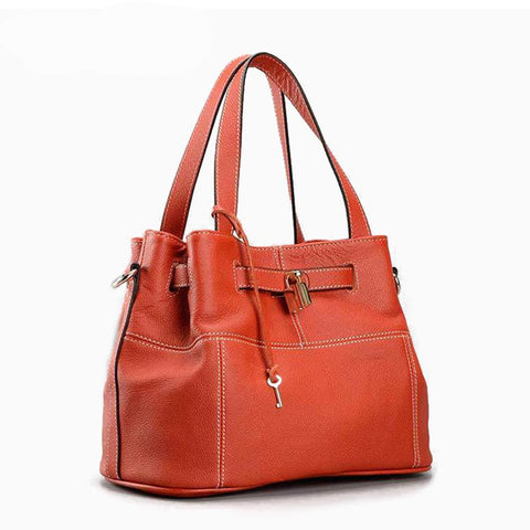 Genuine Leather Handbag with Detachable Shoulder Strap