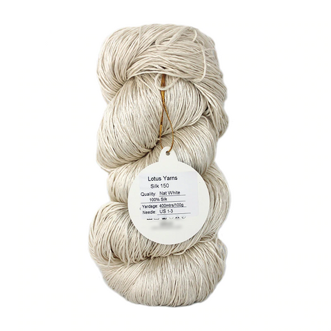 Natural, Undyed  100% Pure Fine Silk 150 Yarn 400 Meter Skein