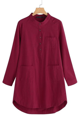 Cotton Long Sleeved Cotton Dress with Button Front, Tab Collar & Pockets