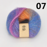 Rainbow Gradient Dyed Mohair Yarn
