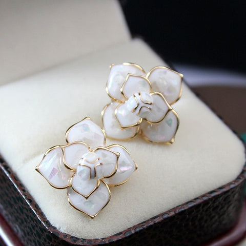 Enameled Camellia Earrings
