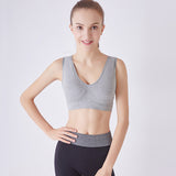Wireless Padded Seamless Knit Exercise Bra with Removable Pads