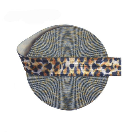 "Five Yards 5/8"" Leopard Print Fold Over Elastic"