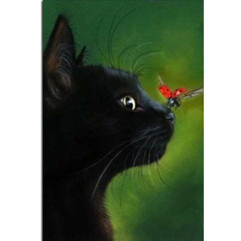 Black Cat and Butterfly Diamond Embroidery Kit