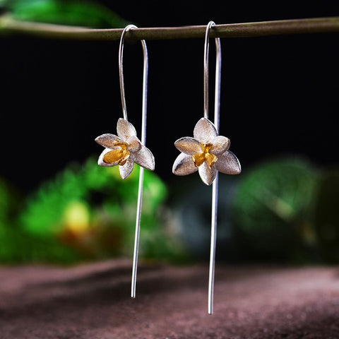 Blooming Orchid Fashion Drop Earrings Handmade in 925 Sterling Silver