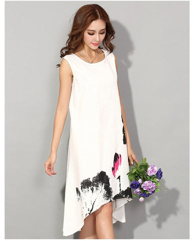 Cotton Linen Dress with Asymmetrical Hem and Abstract Floral Print