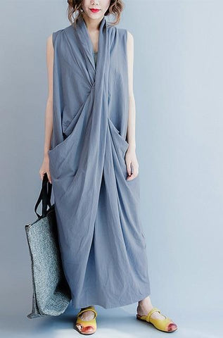 Loosely Draped Rayon Maxi Dress