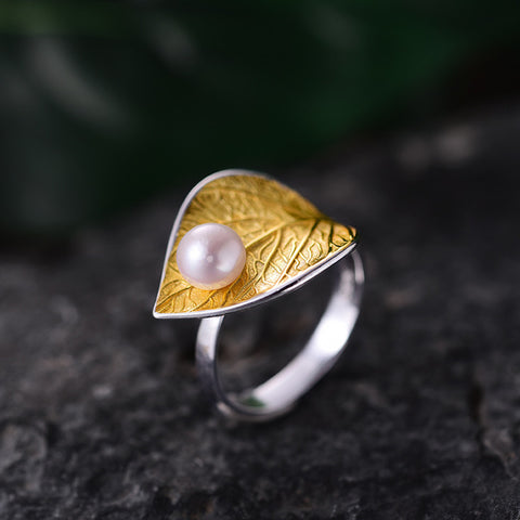 Natural Pearl Leaf Ring Handmade in 925 Sterling Silver