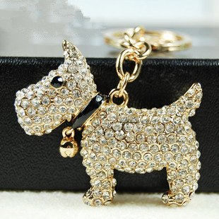 Rhinestone Westie or Cairn Keychain or Purse Charm