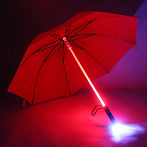 Windproof  Golf Umbrella with LED Lightsaber Handle and Flashlight