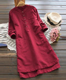 Cotton Long Sleeved Cotton Tunic Dress with Pockets
