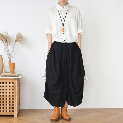 Comfortable, Elastic-Waist,  Asymmetric Linen Pants with Pockets