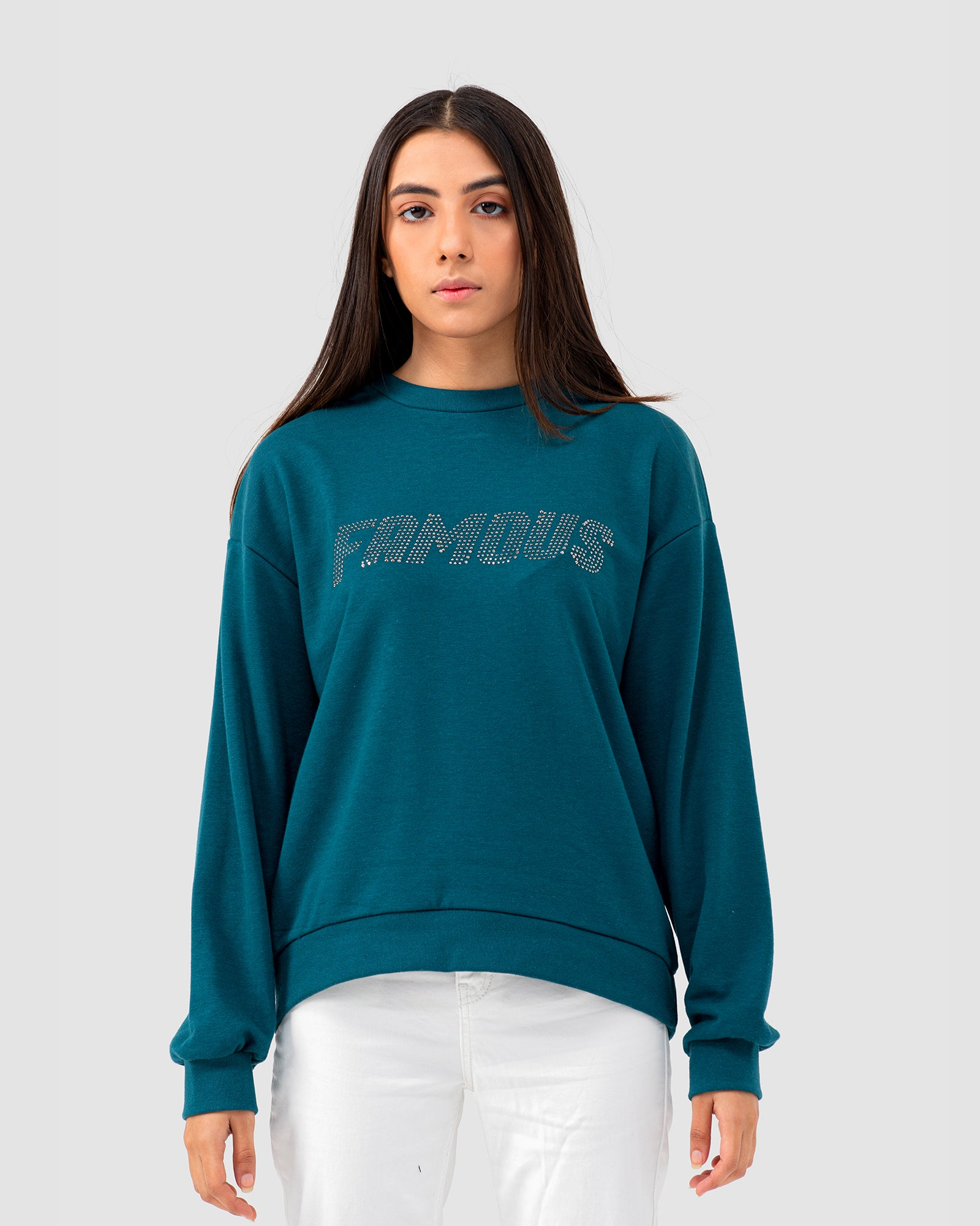 Famous Embellished Graphic Sweatshirt