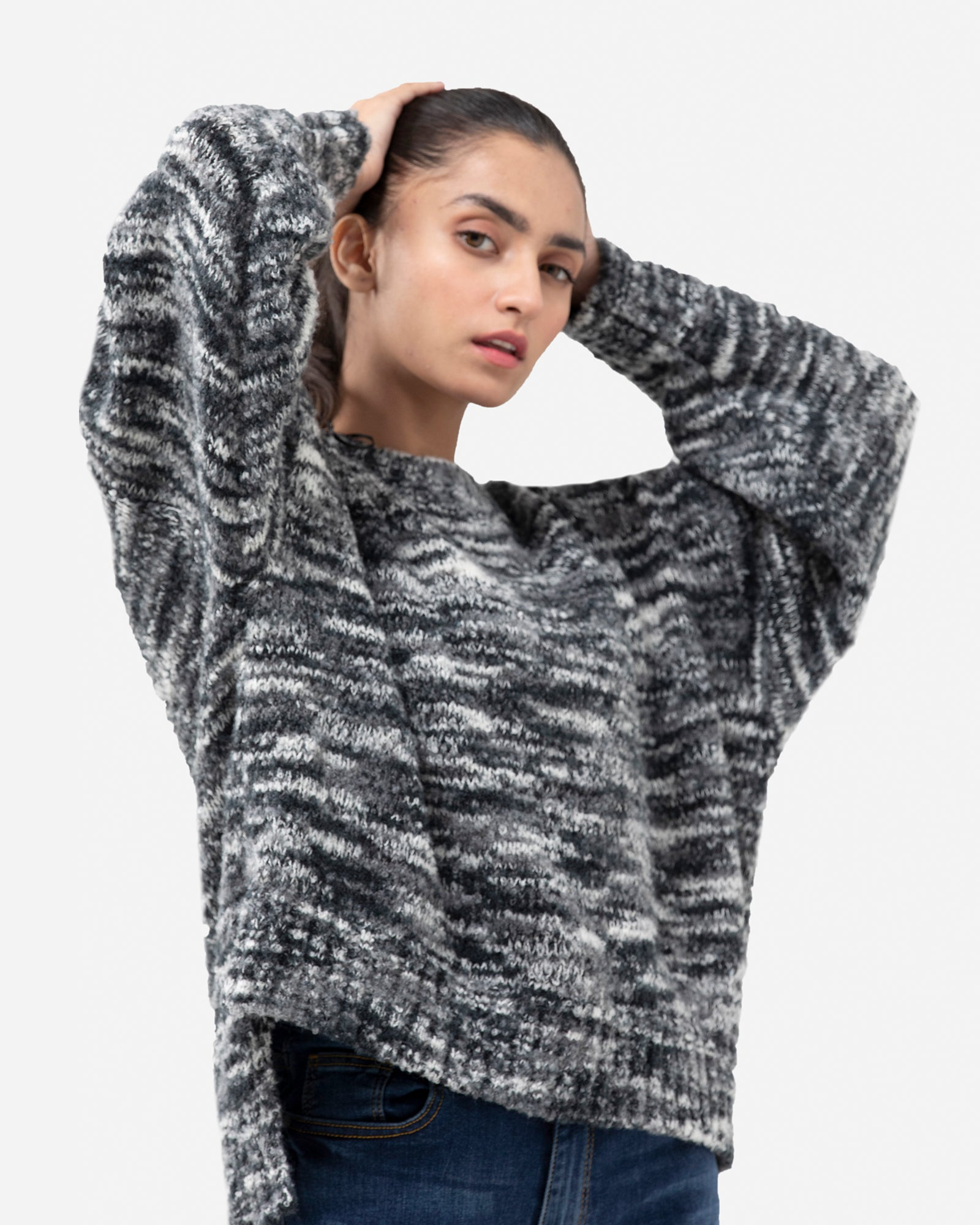 Mélange Charcoal Tone Pullover