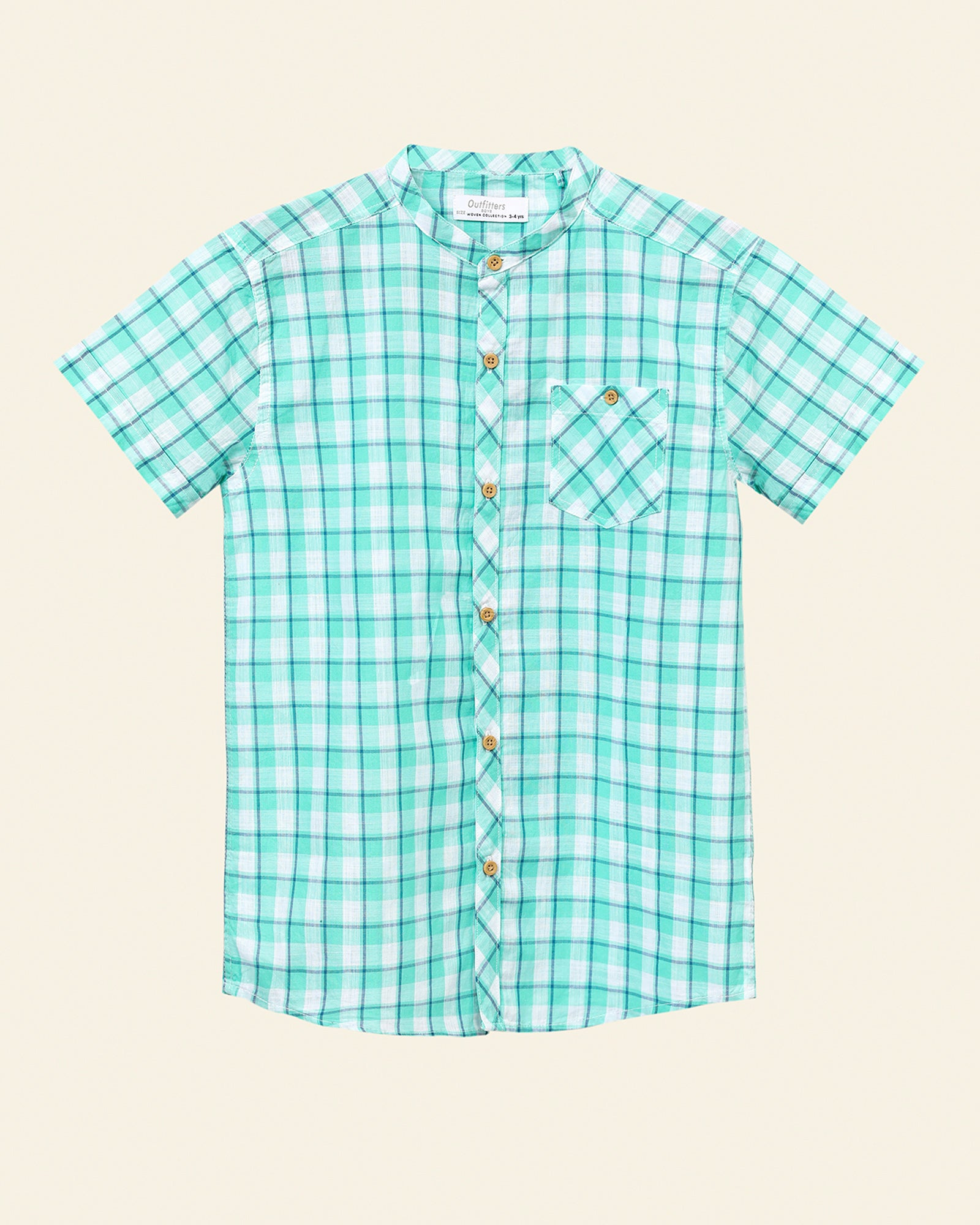 Ban Collar Checkered Shirt