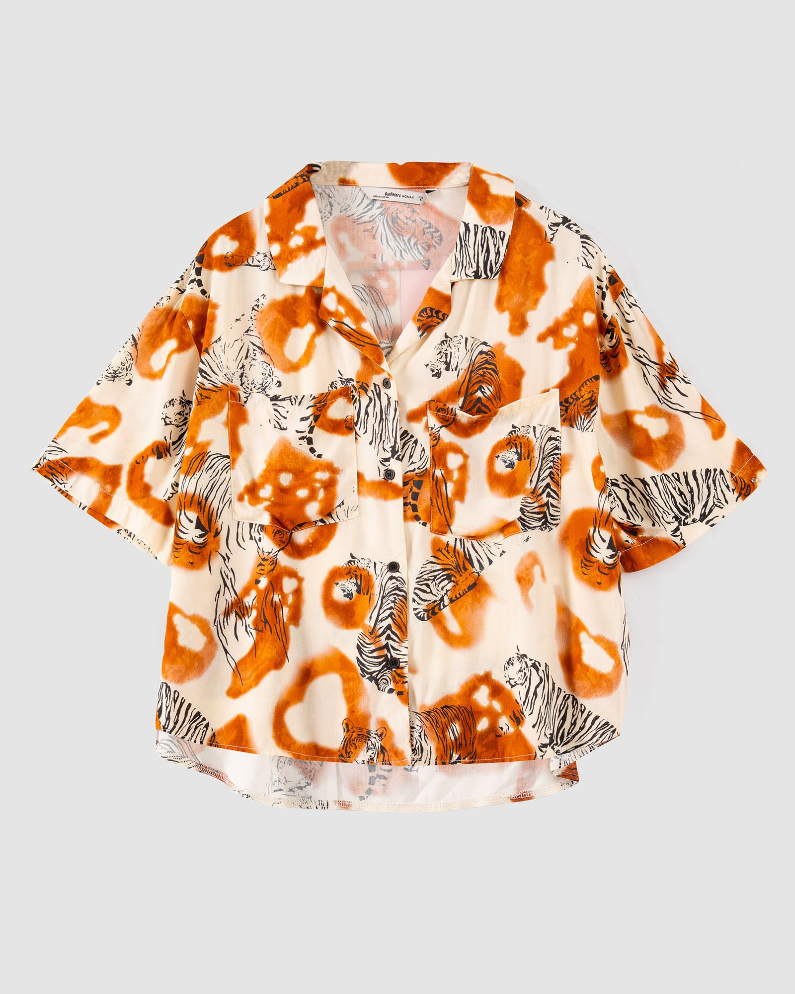 Animal Print Resort Collar Shirt