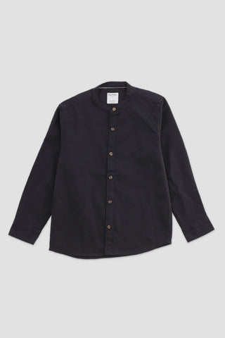 Mandarin Collar Plaid Shirt Black