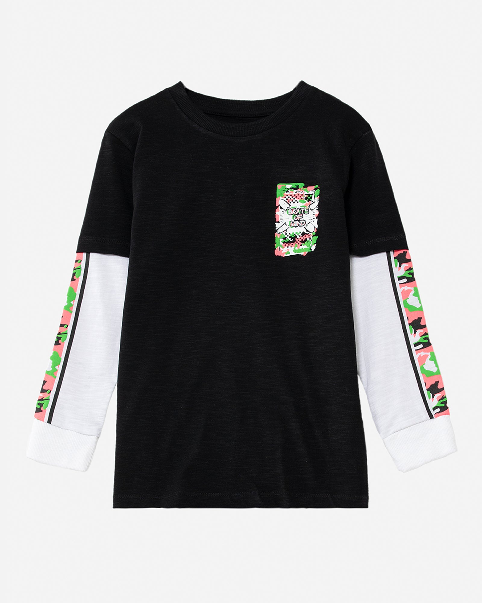 Contrast Sleeve Printed T-Shirt