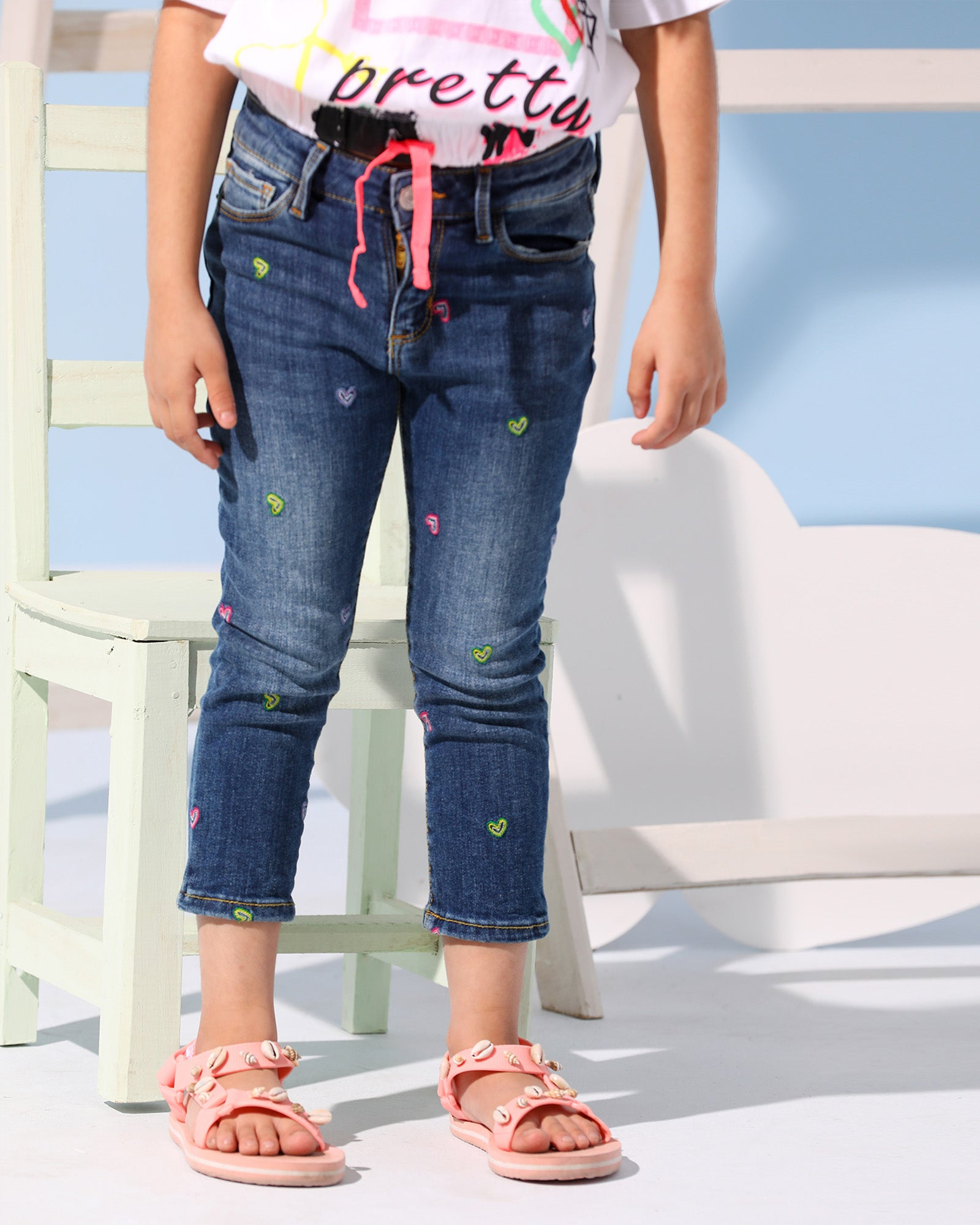 Embroidered Heart Jeans