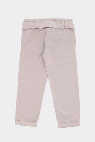 Regular fit strap belted Beige Trouser