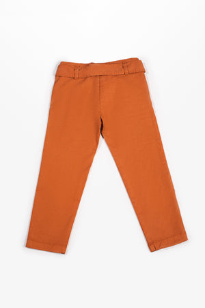 Regular fit strap belted Rust Trouser