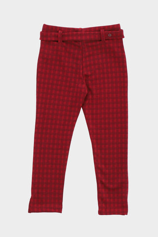 Check Printed Maroon Trouser
