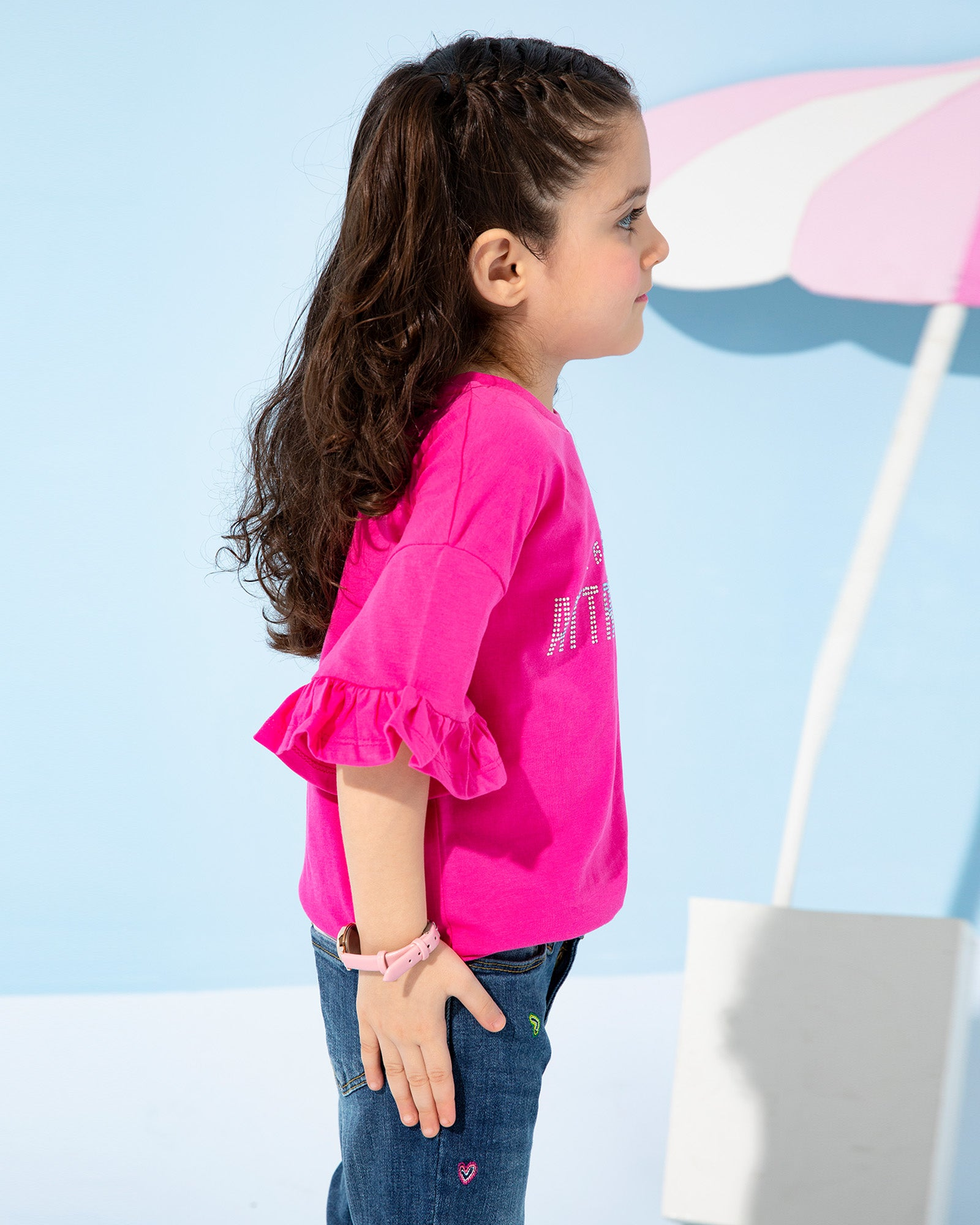 Diamantes Tee with Frill Sleeves