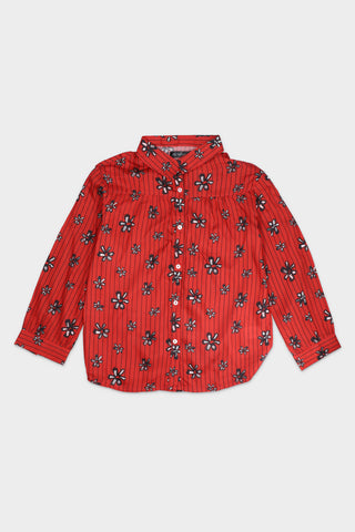 Red Floral Buttoned Down Shirt