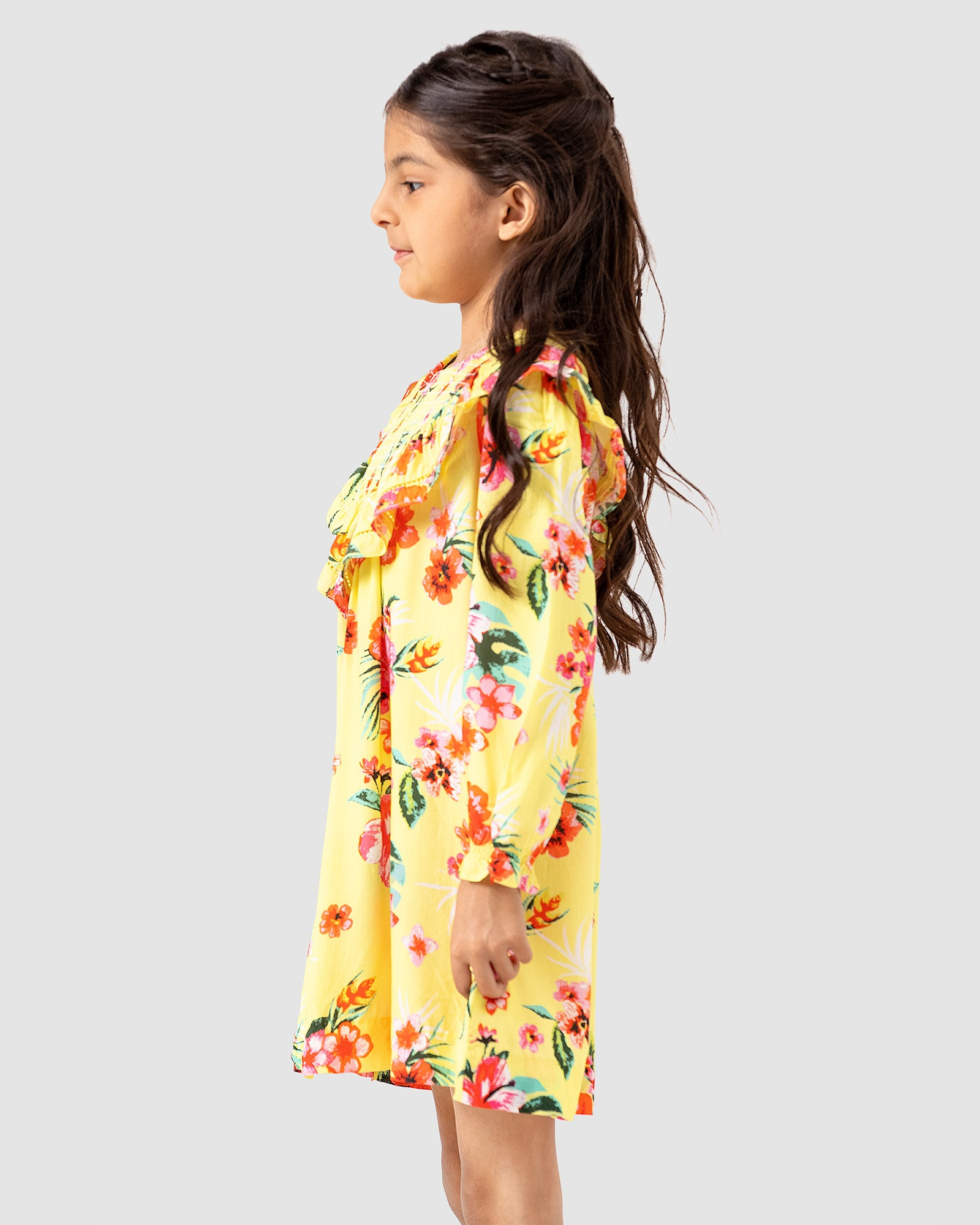 Floral Dress with Shirring Neck Detail