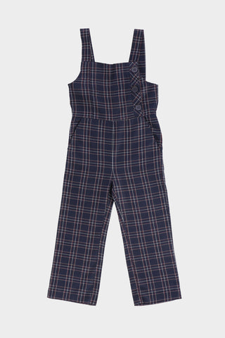 Navy Check Jumpsuit