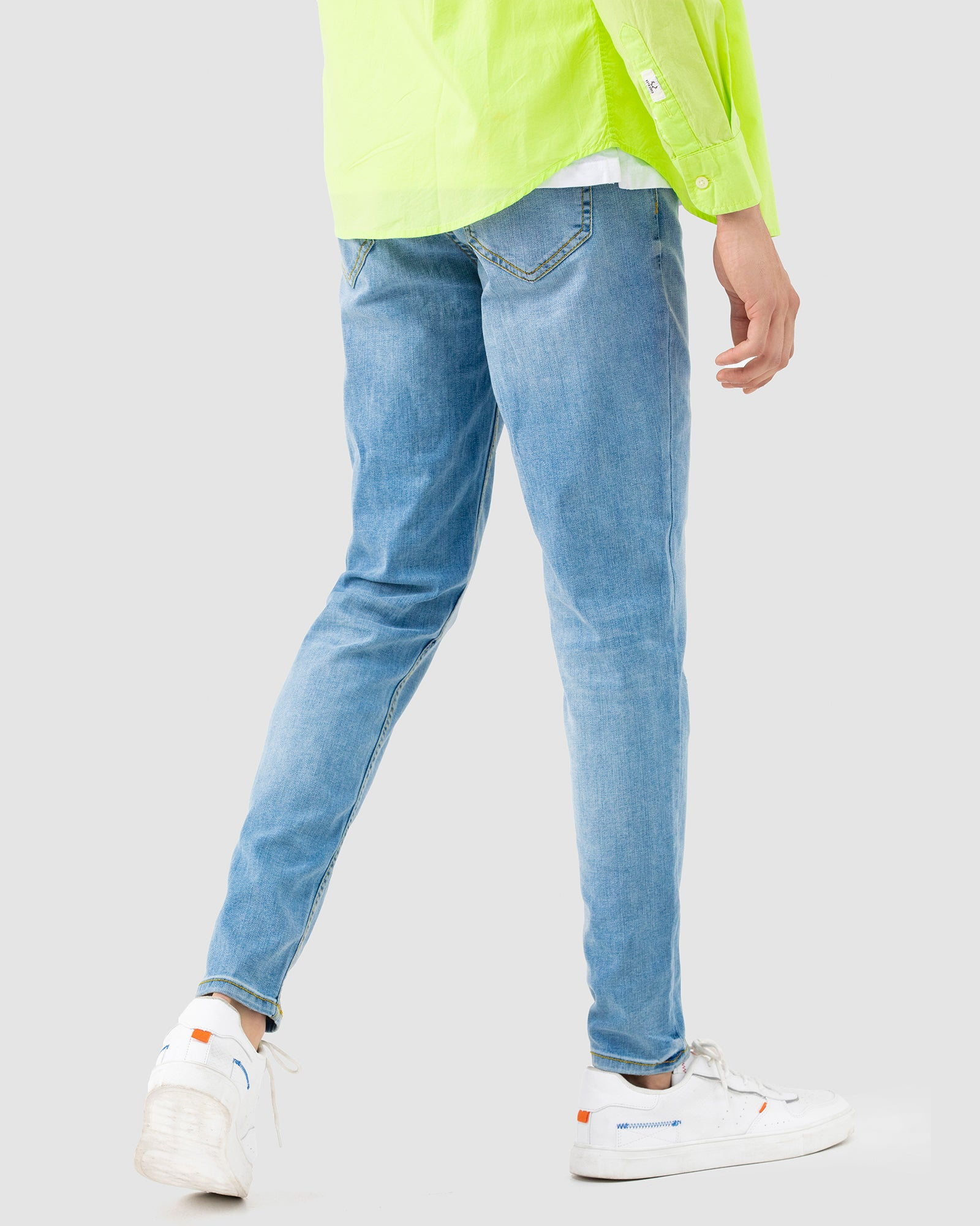 Washed-Out Slim Fit Tapered Jeans with Stretch
