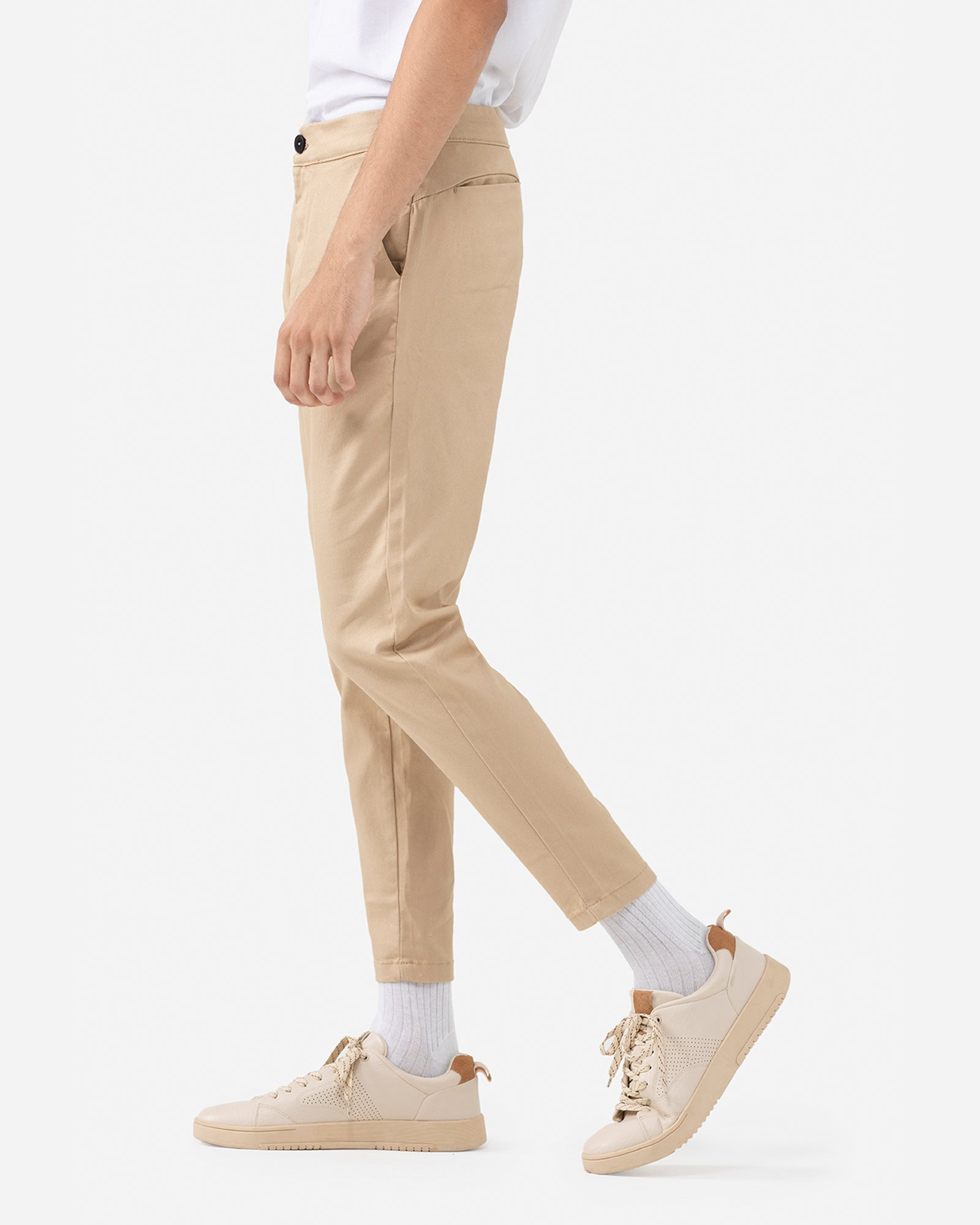 Straight Fit Trousers with Double Fastening