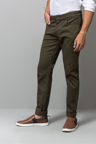 SLIM FIT OLIVE CHINOS