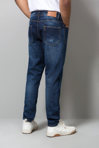 Dark Washed Cropped Tapered Jeans