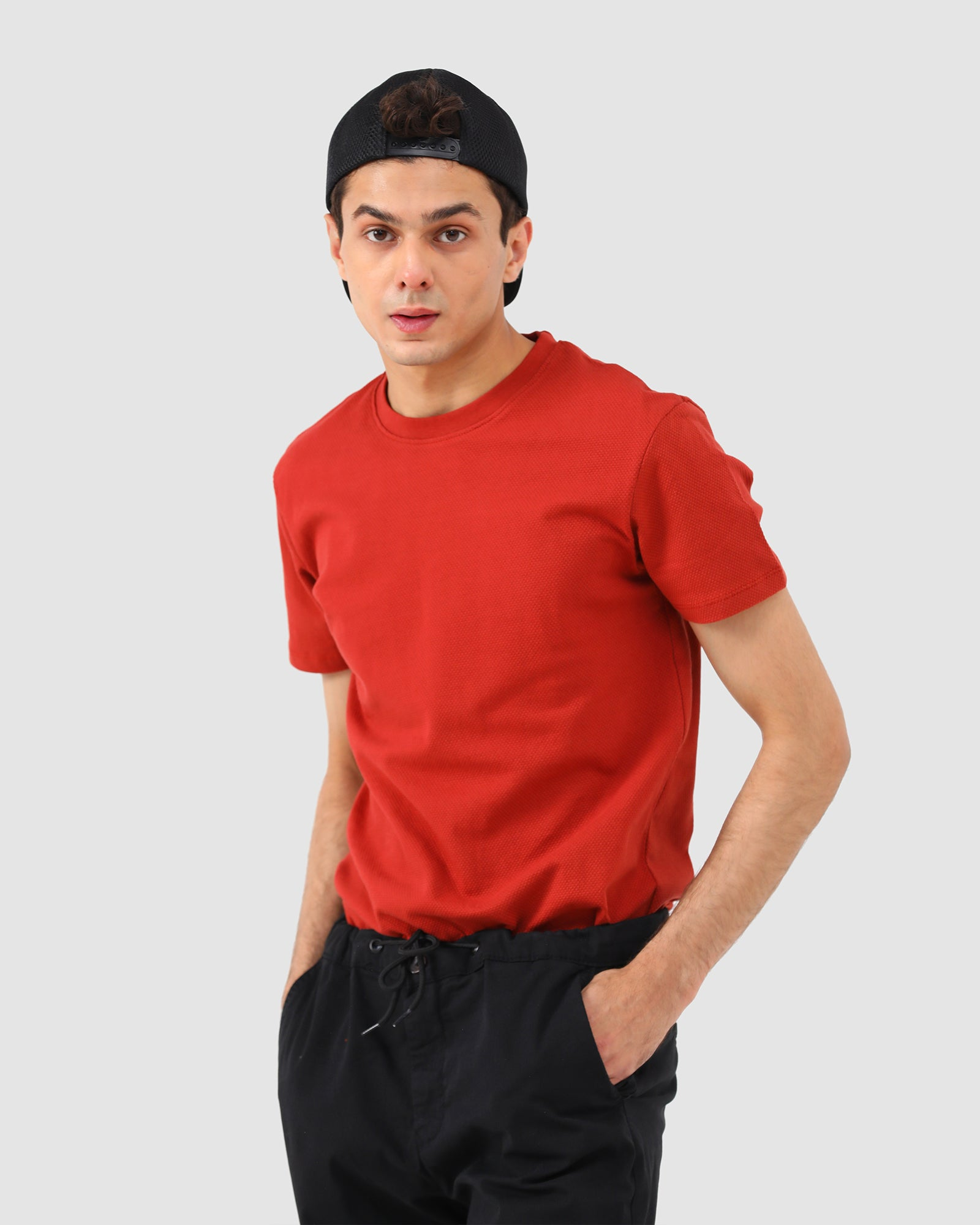 Regular Fit Textured Tee with Crew Neck