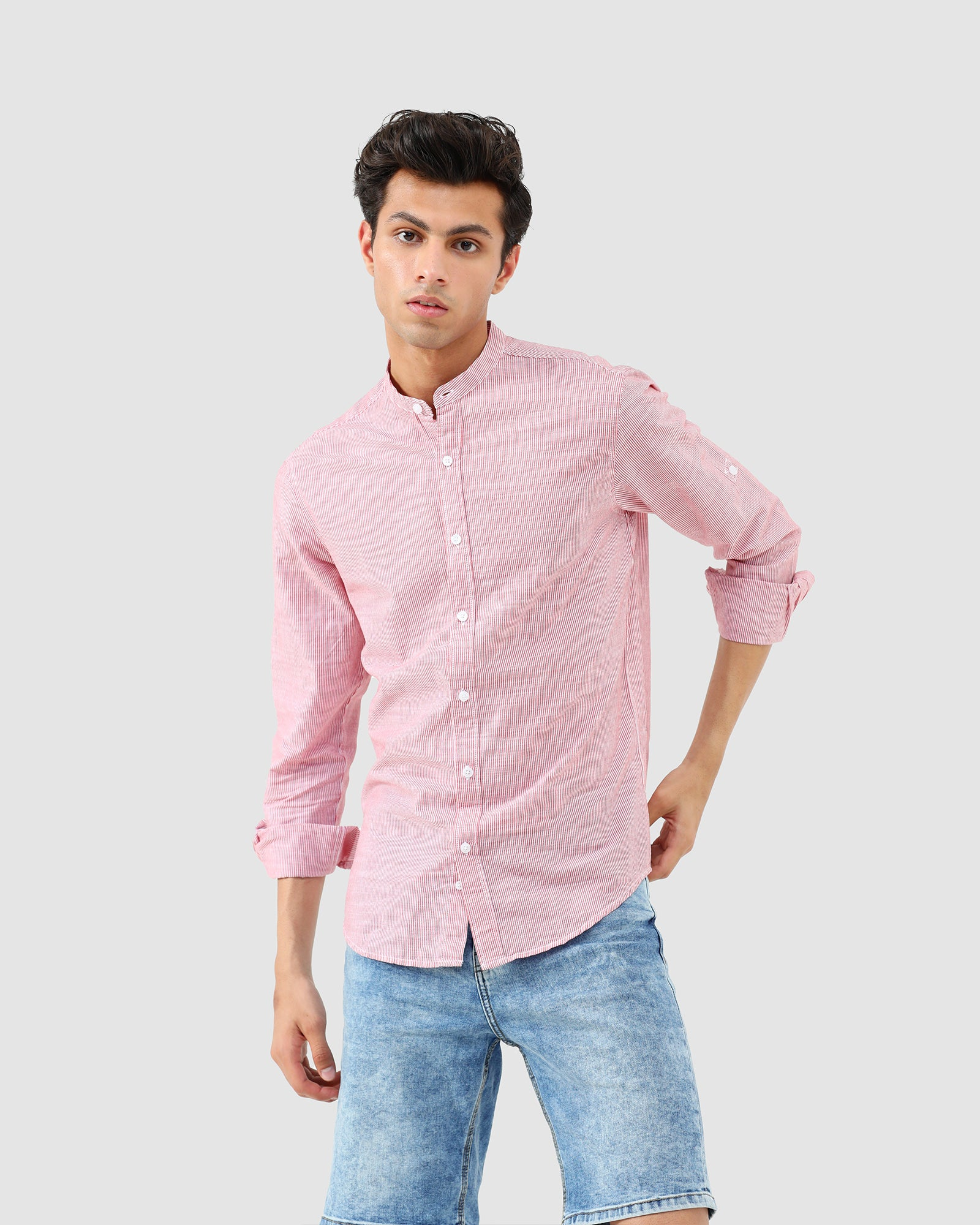 Pin-Striped Band Collar Shirt