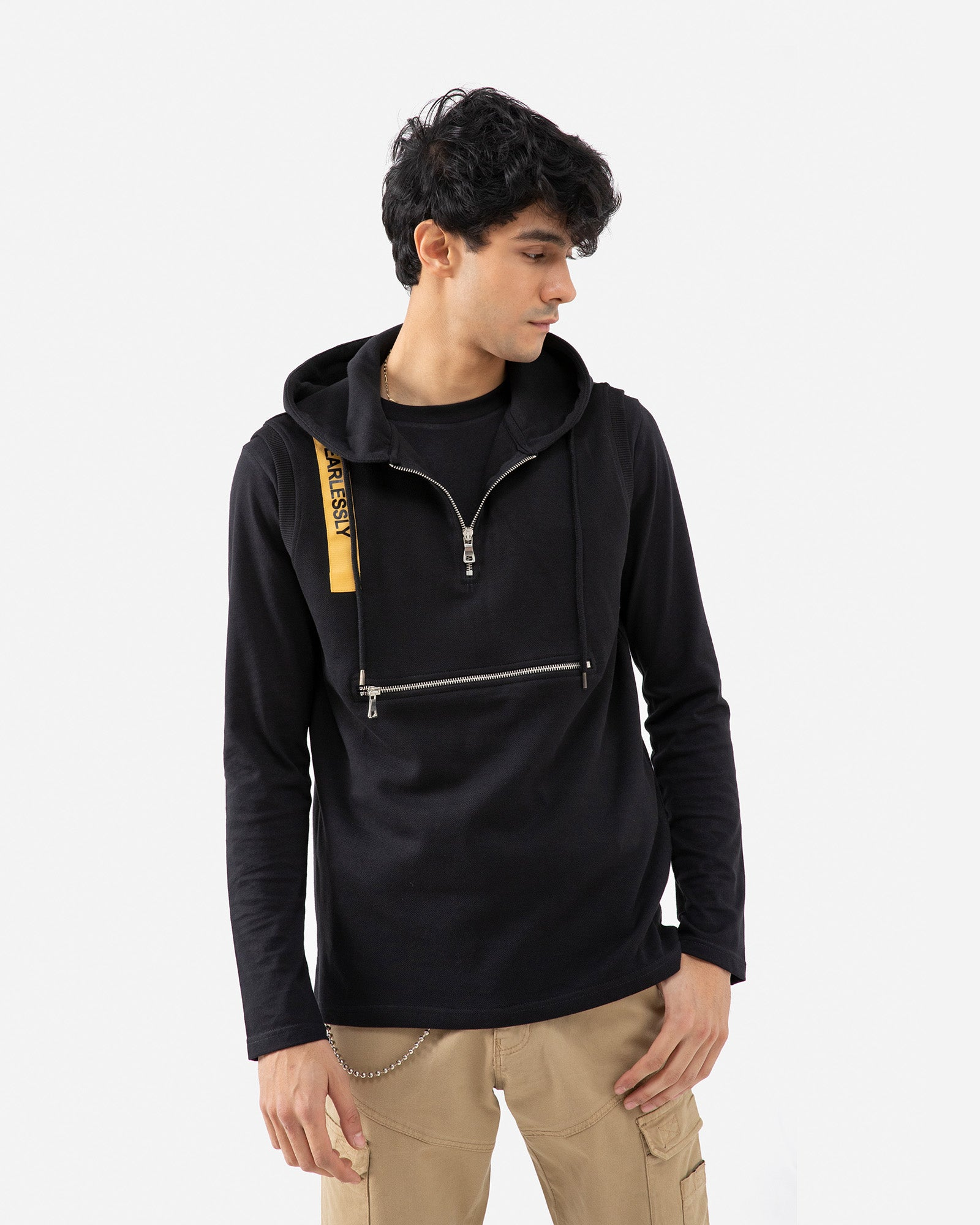 Hoodie with a Zipper Pouch Pocket