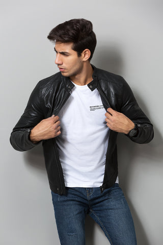 Vintage Café Racer Leather Jacket
