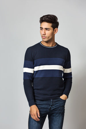Contrast panelled sweater