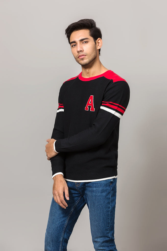 Contrast sleeve panelled sweater